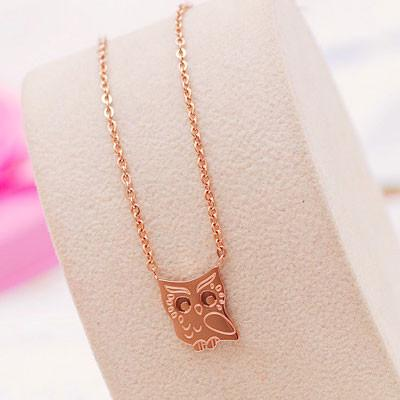 Cute Owl Animal 18K Gold Plated Necklace - lilyby