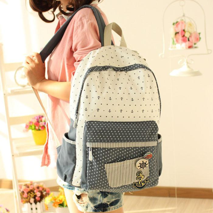 Floral Anchor Dot British Institute Style Canvas Backpack/Computer Bag - lilyby
