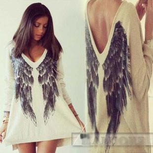 Casual Angel Wings Sexy V Neck Long Sleeve T-Shirt - lilyby