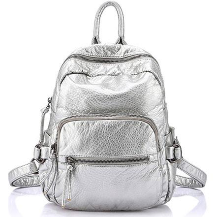 Fashion Silver Color Travel School Backpacks - lilyby