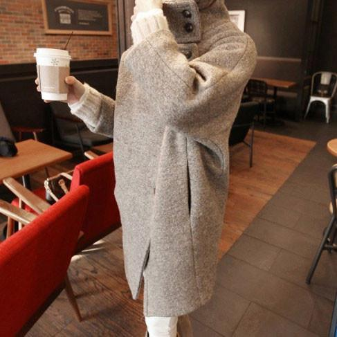 Woman Grey Lapel Thick Woolen Long Coats For Big Sale!- Fowish.com