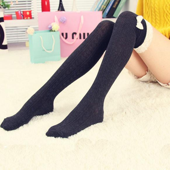 Pretty Bowknot Lace Stitching High Socks/Stockings - lilyby