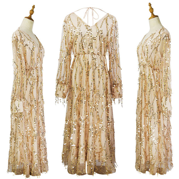 Fashion Long Sleeve Sequin Fringe Perspective Tassel Sequined Ladies Long Dress