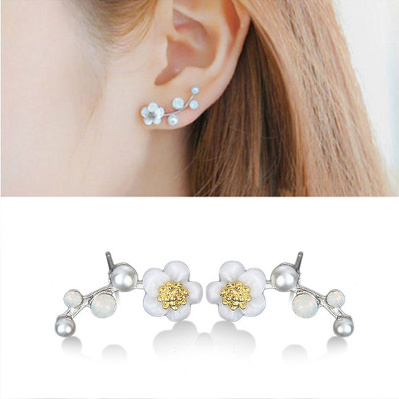 Sweet Plum Blossom Flower Pearl Earrings Shell  Branch Earring Studs