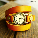 Retro and New Wrap Handmade Leather Bracelet Watch - lilyby