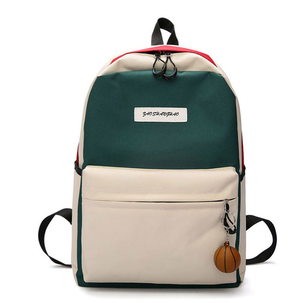 Cute Contrast Color Student Bag Large Canvas Backpack High School Rucksack