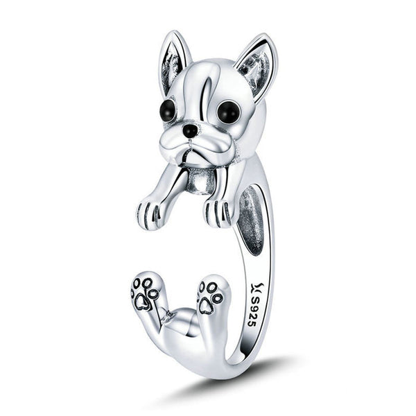 Unique Lovely Dog 925 Silver Ring Bulldog Animal Ring