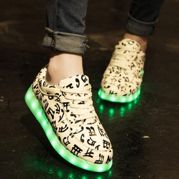 Fashion Music Print LED Glowing Shoes USB Lights Charge Couple Casual Sneakers - lilyby