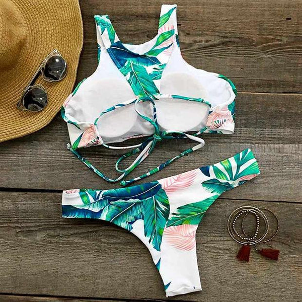 New Women's Ocean Palm Printing Bikini Set Sexy Swimsuit Suit Bathing Swimwear For Big Sale!- Fowish.com