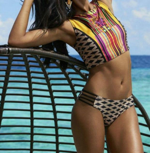 Vest style split swimsuit Rope Plaid Stripes Geometric Print Bikini For Big Sale!- Fowish.com