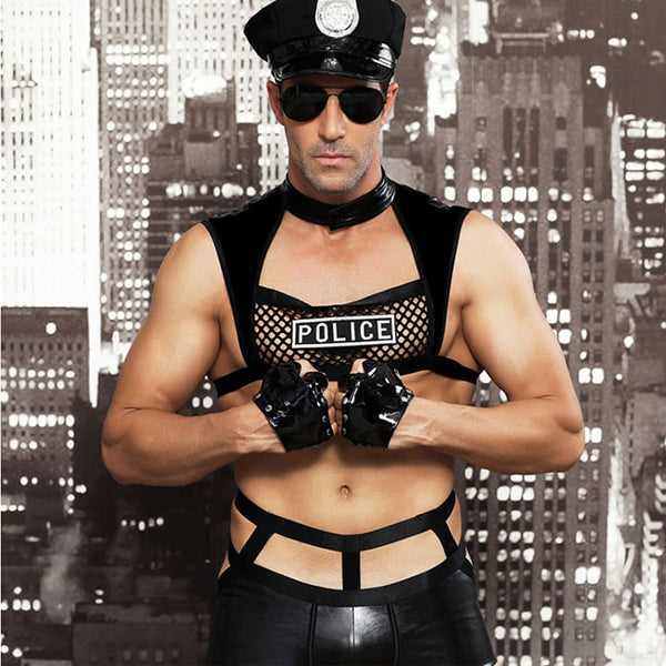 Sexy Bar Night Club Role Cosplay Performance Police Uniform Man Lingerie