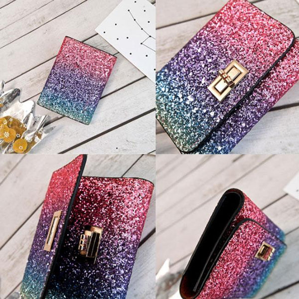 Shining Gradient Rainbow Style Bling Sequin Zipper Fashion Wallet Purse Clutch Bag For Big Sale!- Fowish.com
