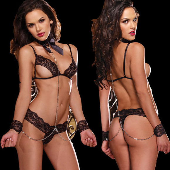 Sexy Temptation Female Prisoner Cosplay Lace Perspective Bra Set Intimate Lingerie