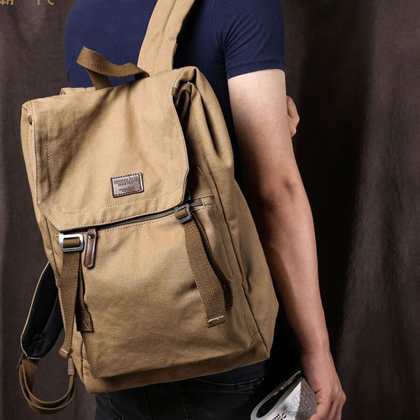 Leisure Double Strap School Bag Man Travel Rucksack Canvas Large Backpack