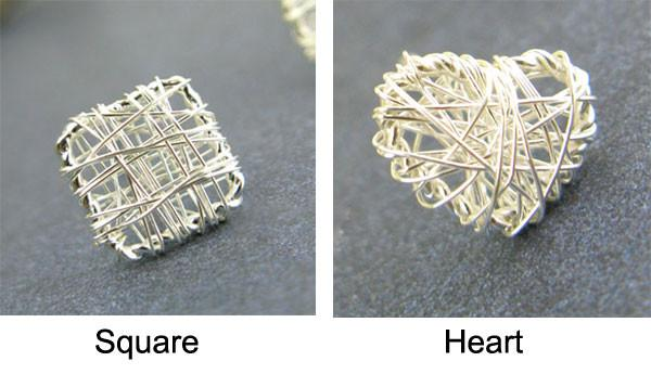 Sweet Heart Square Hollow Out Studs Silver Wire Drawing Earring For Big Sale!- Fowish.com