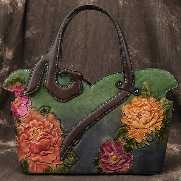 Vintage Original 3D Embossing Flower Rose Large Handbag Handmade Shoulder Bag