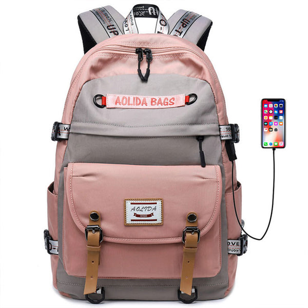 New Student Contrast Stitching Bag USB Outdoor Backpack  Large Capacity Computer Backpack