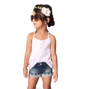Girls Outfits Set/ Tank Top T-shirt+Jeans set