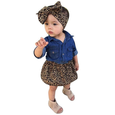 3 piece set/ girls Skirt set with headband and blouse