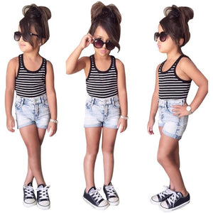 Girls Striped T-shirt Tops/ Demin Shorts Set Outfits 2 piece