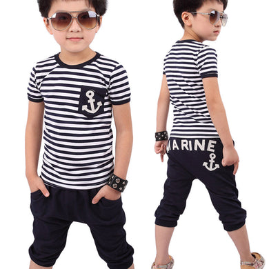 2-7 year Kids boys set clothes set Navy Striped T-shirt And Pants-   pre-teen boys
