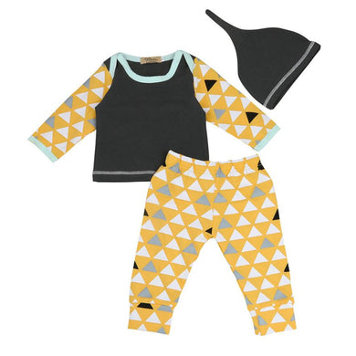 3 pieces set Baby Boy/girl Geometric T shirt Tops+Pants+Hat Outfits