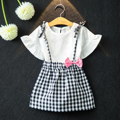 2 piece set plaid Bowknot Girls set/ T-shirts+Skirt/toddler girl