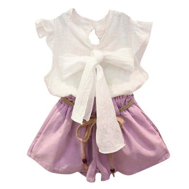 2PCS set  Toddler Girls Outfit. Clothes Bow knot  blouse +Shorts Set
