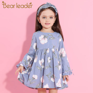Petal long Sleeve Flowers Print Design dress For 3-9 Years