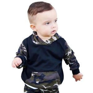 Baby Boys Camouflage Camo Hoodie Tops/Long Pants 2Pcs Outfits