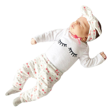3pcs Baby Girls Long Sleeve / Infant Tops+Pants Eyelash Pattern+Headband  Set