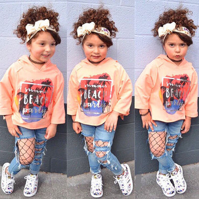 2 Pcs/Sets Toddler  Long Sleeve Print Hoodie Tops + Hole Denim Pants Kids Sets