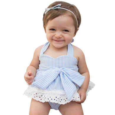 3pcs Baby Girls Bow knot Striped Set T-Shirt+Shorts+Headband