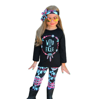 3PCS Girls Clothes T-shirt Tops+Floral Pants+Headband