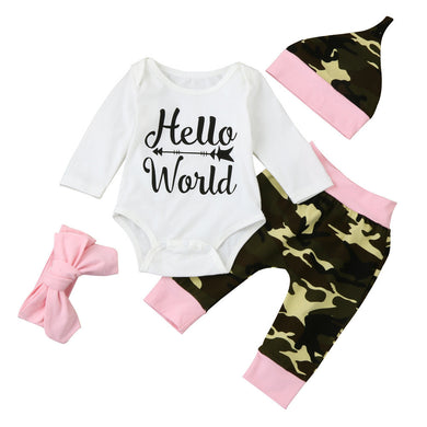 4pcs suit !!! Baby  Girls Camouflage Tops Romper +Pants +Hat+Headbands Hello World