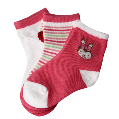 3 Pairs Newborn Cotton Lovely Baby Cotton  Socks Girls