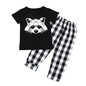 2PCS Cute Fox Printed  Soft Cotton T Shirt Pants/ Short Sleeve Toddler Clothes