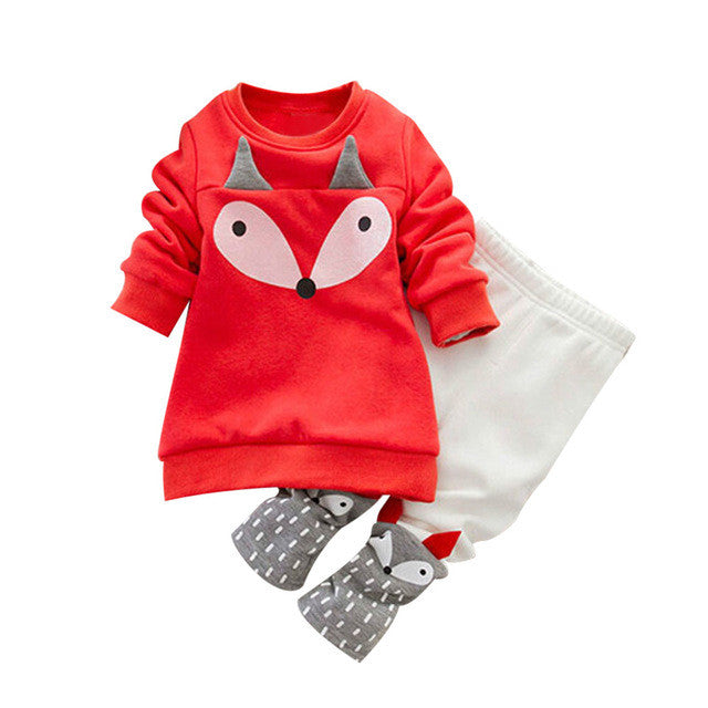 Baby Girls/boys set  2PCS Thick Long Sleeve Fox Tops + Pant Sets sweatshirt