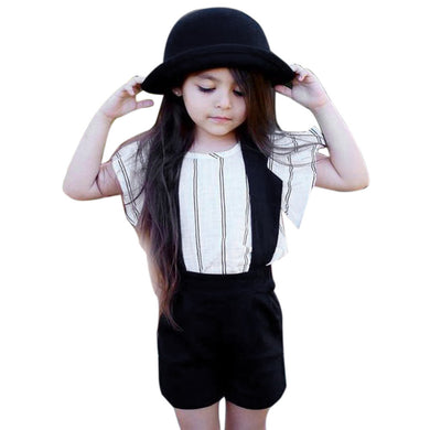 T-shirt + Halter Bib white and black kids Striped Outfits toddler /pre-teen