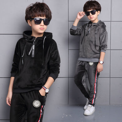 5- 10 Year Boys Velvet Hoodies + Pants Two Pieces Set