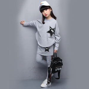 Girls Set Cotton Long Sleeve Autumn Shirt + Skirt Pants 4 6 8 10 12 14Y