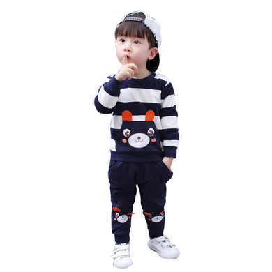 l Boy Clothes Set Striped Bear Tops+Pants Outfits
