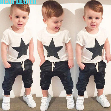 Baby Girls/ Boys  Black Letter T-shirt+Imitation cowboy pants 2pcs suit