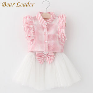 Pink Striped Sleeveless Shirt+Mesh Dress 2Pcs set