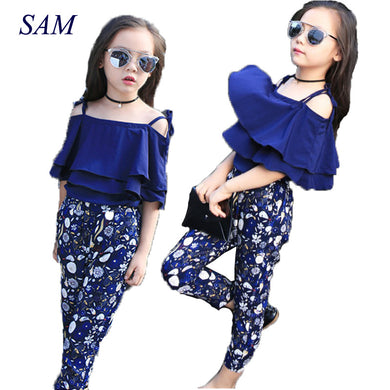 Two Piece Children Summer Girls Boutique Outfits 7 8 9 10 11 12 13 14 Years