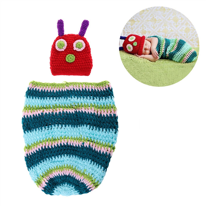cute caterpillar infant beanie hat & cocoon set for photo shoots