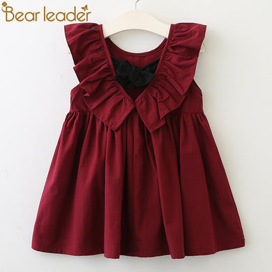 Fallback Collar Back Bowknot Solid Color Cute Dresses For 2-6 Year