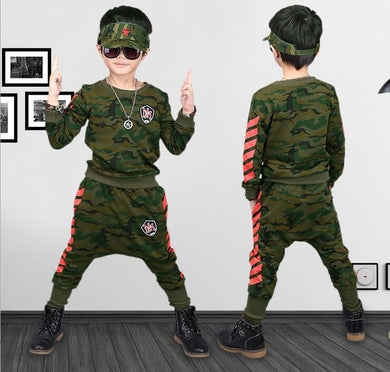 boys tracksuit cotton Camouflage/ two piece clothing set 4 6 8 10 12 14 years