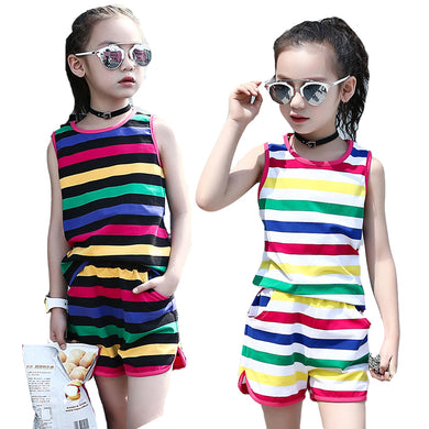Sleeveless Striped blouse & Shorts 2Pcs  Kids Outfits 2 4 6 8 10 12 Years