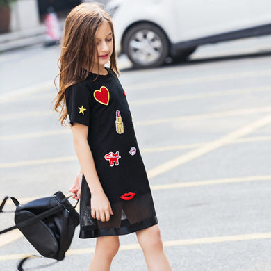 Teenager Girl Summer Casual Dress 6 8 10 12 14 16  Love Applique Black Dress